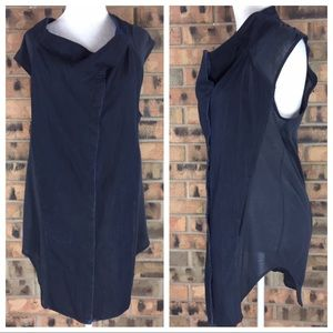 Helmut Lang Med Cowl Neck Chambray Tunic Pockets